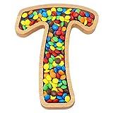 Buchstabe T Schüssel für Kekse, Snack, Nusse/Initial Holzschale/Monogram Teller/Dekoratives Wohnaccessoire/Geburtstag, Jahrestag, Party Geschenk Groß