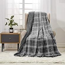 softan Manta de vellón Sherpa, Manta de Felpa Peluda súper Suave para sofá Cama Manta de Piel difusa, 130 cm × 150 cm, Tela Escocesa Gris