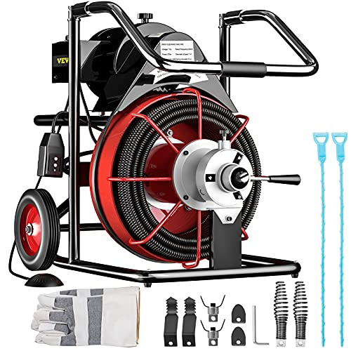Mophorn 100FT x 3/8Inch Drain Cleaner Machine fit 1 Inch (25mm) to 4 Inch(100mm) Pipes 370W Open Drain Cleaning Machine Portable Electric Drain Auger with Cutters Glove Drain Auger Cleaner Sewer Snake