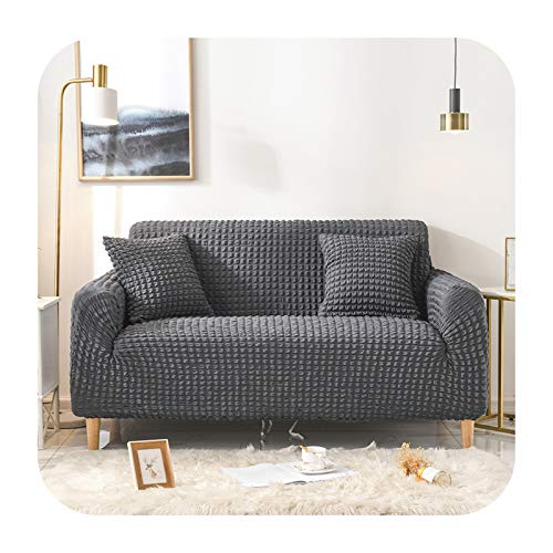 KASHINO Elastischer Sofabezug für Wohnzimmer, einfarbig, kariert, für Sofas, Couch, Sessel, Couch, Sofabezug, 2-Sitzer, 145–185 cm, Dunkelgrau