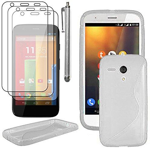 ebestStar - Cover Compatibile con Motorola Moto G, XT1032 Custodia Protezione S-Line Silicone Gel Morbida +Penna +3 Pellicole plastica, Trasparente [Apparecchio: 129.9 x 65.9 x 11.6mm, 4.5'']