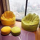 WDL Bohnenbeutel Stuhl Faules Sofa Gelb Muschel Sofa 25in × 25in Geeignet Für Wohnzimmer Schlafzimmer Balkon