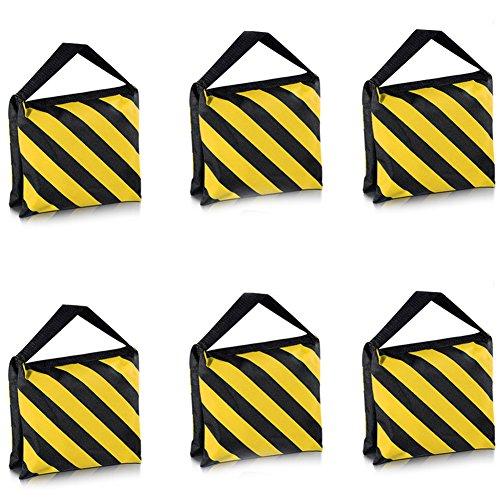 Neewer - Set di 6 borse da sella per fotografia, studio video, palcoscenico, treppiedi, colore nero giallo