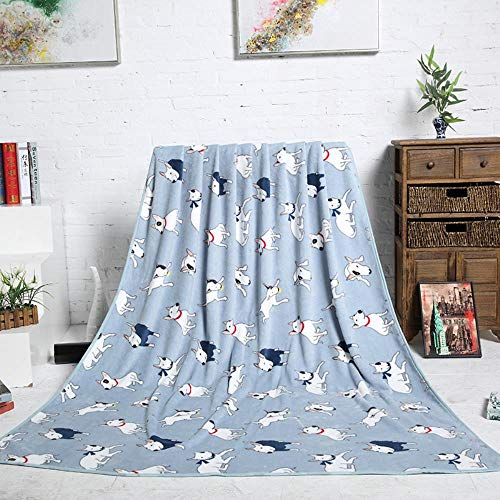 Csjunjie Azul Rosa Bull Terrier Impreso Tejido de Franela Bebé niño Funda de Manta de Cama para sofá ViajeCoche Plaids 200X150cm, Rosa, 200X150cm