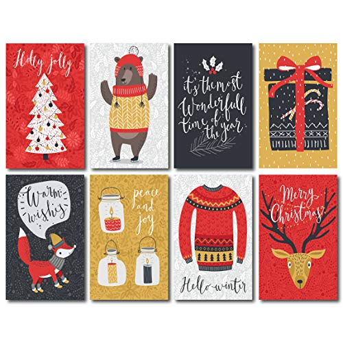 Merry Christmas Postcards/Happy Holiday Postcards: Bulk Postcards Set Includes 48 Christmas Post Cards; 8 Different cute postcards designs (6 of each); Seasons Greeting Postcards
