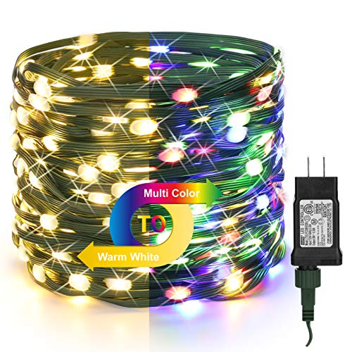 BrizLabs Christmas Tree Lights, 98ft 300 LED Color Changing Christmas Lights, 9 Lighting Modes Warm White & Multicolor Outdoor Christmas Light, Green Wire Plugin Light String for Xmas Party Home Decor