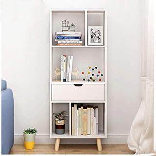 Estantería de Madera para Libros, divisora de Libros y mostrador de un Armario, con Estante de Almacenamiento en Forma de S, Color Blanco