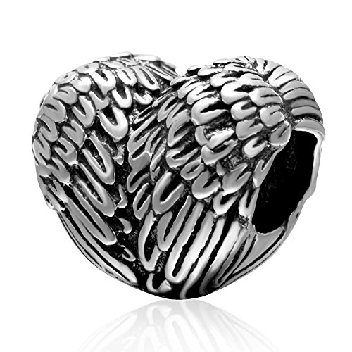 Feder Charm Flügel 925 Sterling Silber Charm Engel Liebe Charm Jahrestag Charm für Pandora Charm-Armband