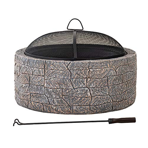 Sunjoy A301016300 Edwin Stone 26 in. Round Wood Burning Firepit, Brown and Gray