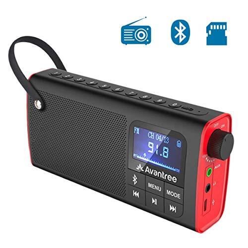 Avantree SP850 Mini Radio Portatile FM, Radiolina Tascabile con Batteria Ricaricabile, Cassa Audio Altoparlanti Bluetooth e SD Card Mp3 Player Tutto 3 in 1, Auto Scansione & Memorizzazione