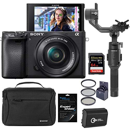 Sony Alpha a6400 24.2MP Mirrorless Camera with 16-50mm f/3.5-5.6 OSS Lens - Bundle With DJI Ronin-SC Gimbal Stabilizer, Shoulder Bag,...