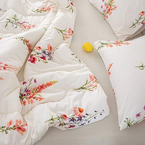 Offwhite Floral Comforter Set Pink Flowers Comforter Pink Lavender Flowers Printed Alternative Down Comforter Microfiber Botanical Bedding Queen 1 Comforter 2 Pillowcases (Queen, Offwhite)