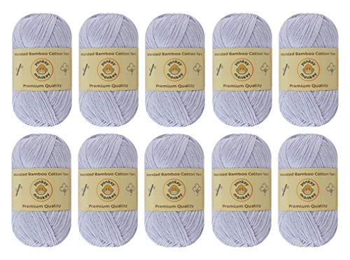 10-Pack Yonkey Monkey Skein Tencel Yarn - 70% Bamboo, 30% Cotton - Softest Quality Crocheting, Knitting Supplies - Lightweight and Breathable Fabric Threads 210 Meters
