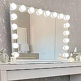 Glamour Mirrors™ Marilyn LED Hollywood Espejo | Cambio de color de día a noche | Luces regulables | USB incorporado | Espejo de tocador para mesa y pared | 60 cm x 100 cm