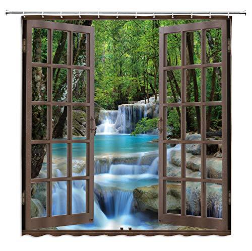 "AMFD Waterfall Shower Curtain 3D Vivid Nature Waterfall Scenery Through Brown Window Creative Green Teal Modern Unique Fabric Bathroom Decor Set Include Hooks,(70"" WX70 H)"