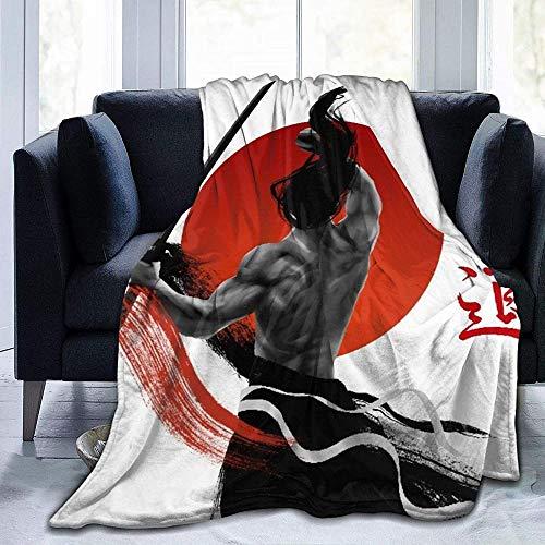 HUA JIE Manta De Forro Polar De Franela Suave Y Esponjosa Throw Blanket Soft Warm, Samurai Japonés En La Práctica con Músculos, Microfibra para Todas Las Estaciones, Sala De Estar-1