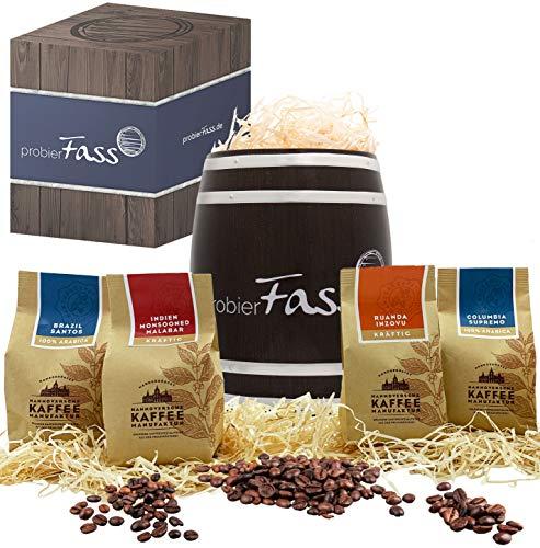 Kaffee Geschenk Entdeckungsreise 4 verschiedener Anbauländer 4 x 80g ganze Bohne in einem originellen Fass