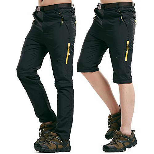 Rmine Trekkinghose Zip Off Atmungsaktiv Wanderhose Outdoor Hose Entfernbar Schnell Trockend (Mit Gürtel) (Schwarz, L)