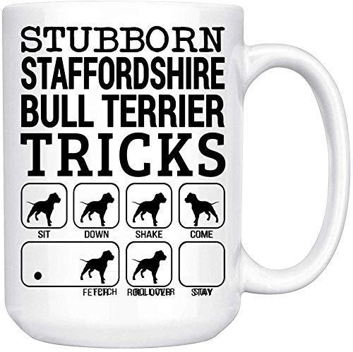 N\A Tazas Personalizadas - Regalo Divertido para los Amantes de Staffordshire Bull Terrier Taza de café con Leche