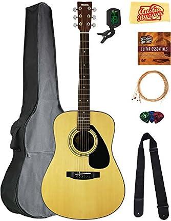 Yamaha F325D Dreadnought - Juego de guitarra acústica con bolsa de concierto, afinador, cuerdas, correa, púas, DVD instruccional de Austin Bazaar y paño de pulido