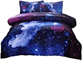 A Nice Night Galaxy Bettwäsche-Set, Weltraum, 3D-gedruckt, Weltraum-Steppdecken-Set, Doppelgröße, für Kinder, Jungen, Mädchen, Teenager, Kinder, inklusive 1 Steppdecke, 2 Kissenbezüge