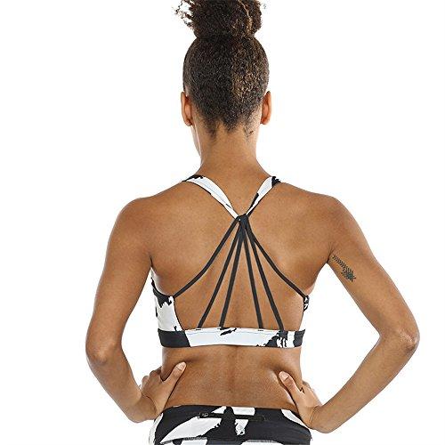 icyzone Yoga Sport-BH Damen Bustier mit Gepolstert - Atmungsaktiv Ohne Bügel Sports Bra Top (XL, Han)