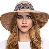 Maylisacc Sombrero Playa Mujer Plegable, Sombrero para el Sol de ala Ancha Sombreros de Paja de Rafia de Verano Proteccion Solar, Beige con Cinta de Cuadrícula Rosa