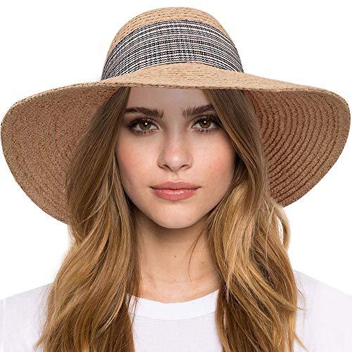 Maylisacc Sombrero Playa Mujer Plegable, Sombrero para el Sol de ala Ancha...