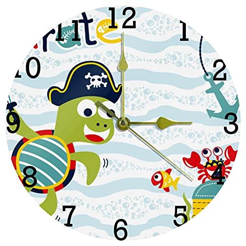 EZIOLY Reloj de pared de pirata con diseño de tortuga de océano, 10 pulgadas, silencioso, sin garrapatas, de cuarzo, funciona con pilas, para el hogar/la cocina/la oficina/el reloj escolar