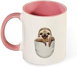 Beautiful Color Mug Inside And Handle Pocket Sloth 2 tea cup coffee cup pink-Pocke1