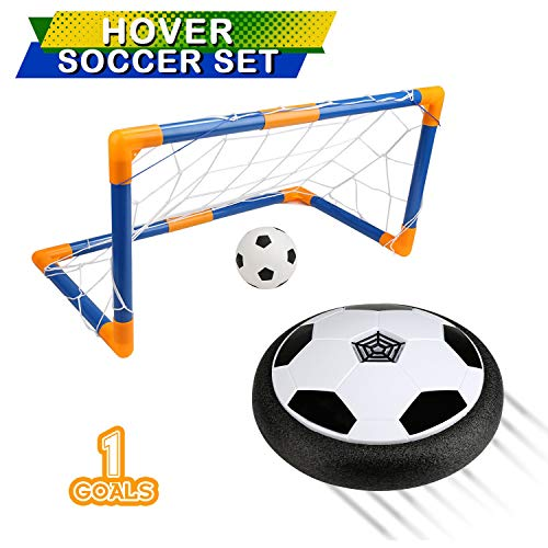 BelleStyle Air Power Soccer, Air Hover Ball Juguete Balón de Fútbol Flotante Soft Foam Bumpers con Luces LED y Música Hover Fútbol Juego Interior al Aire Libre