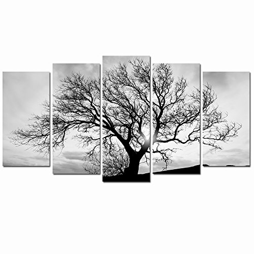 LevvArts - Black and White Tree Canvas Art,Great Sunset Shot Pictures Print on Canvas,Modern