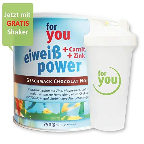 for you Power Eiweiß nach Strunz I Eiweißpulver Chocolate Noir 750g + Shaker I mit Carnitin Whey-Protein Sojaprotein Milchprotein I Biologische Wertigkeit 156 I Mehrkomponenten Pulver