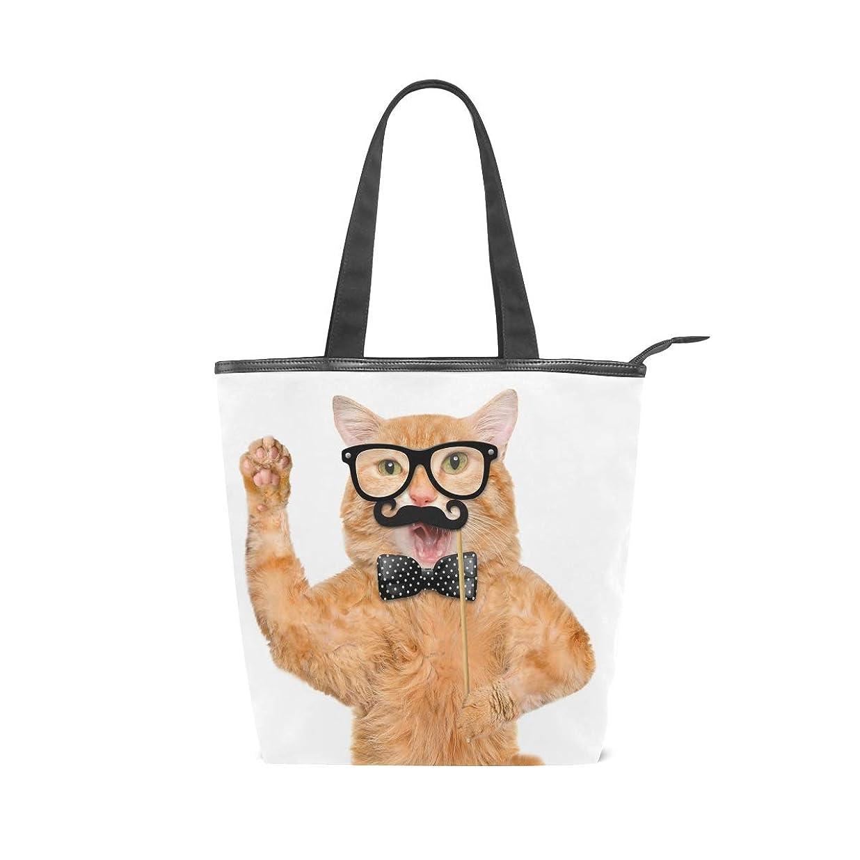 先のことを考える散文ベイビーキャンバス バッグ トートバッグ 多機能 多用途2wayメガネ 髭 猫柄 ネコ キャット ショルダー バッグ ハンドバッグ レディース 人気 可愛い 帆布 カジュアル 多機能 両用トートバッグ ァスナー付き ポケット付 Natax