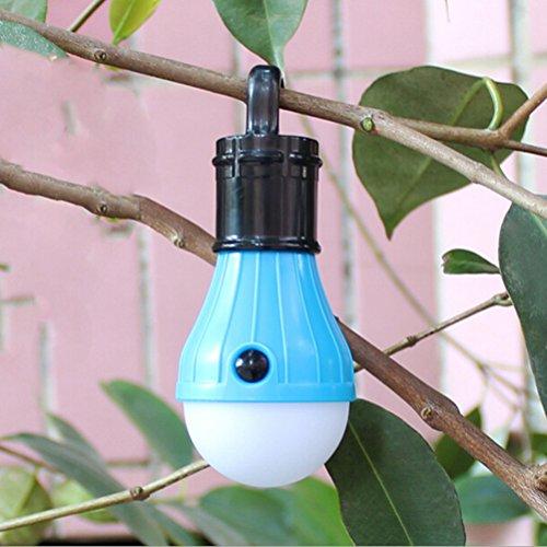LEDMOMO Portable 3 ampoule d'éclairage de tente photophore à LED Flashlight pr Camping pêche batterie de secours alimenté (bleu)