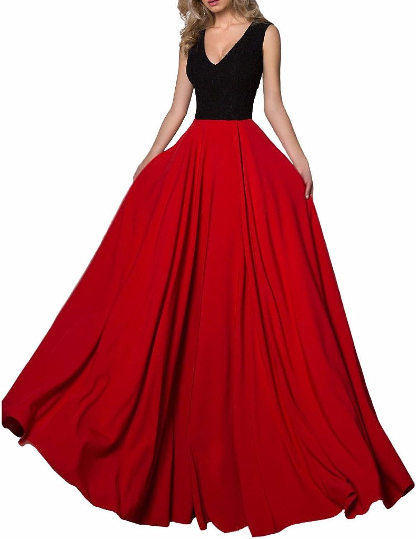 GMAR Women's A Line Black Lace Evening Dress V Neck Party Prom Dresses Long