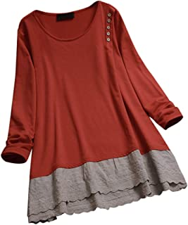 Tunic Dresses for Women to Wear with Leggings Plus Size O-Neck Long Sleeve Tops T-Shirt Blouse