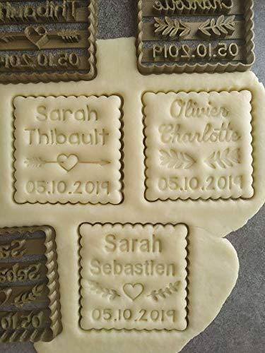 Emporte-pièce motif au choix - Petit Beurre carré - Personnalisable avec 2 Prénoms et date   Conçu et fabriqué en France