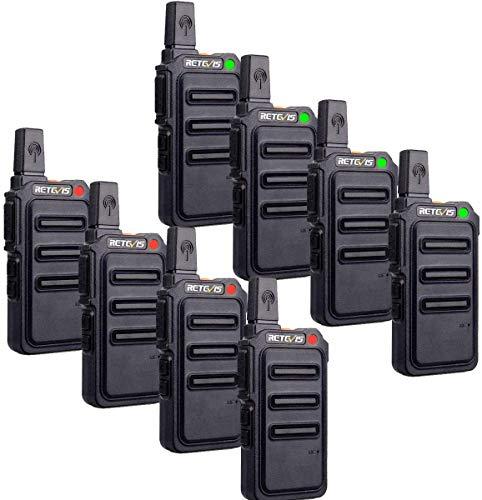 Retevis RT619 Radio Bidireccional,Walkie Talkie Profesional Largo Alcance PMR446 Walkie Talkie 1300mAh Batería 16 CH VOX,Walki Talki Portátil de Mano para Guardia de Seguridad,Escolar (8 Piezas,Negro)