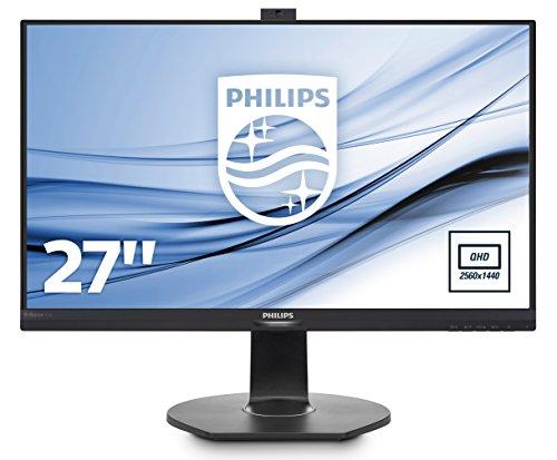 Philips 272B7QPTKEB/00 27 cm (27 Zoll) Monitor (QHD, VGA, HDMI, 2x Displayport, Daisy Chain, 3x USB 3.0, 2560 x 1440, höhenverstellbar, Pivot integrierte Webcam) schwarz