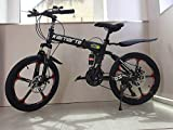 "20"" Carbon Steel Folding Mountain Bike 21 Speed TX30 Gears Cross Battle Comm"