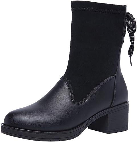 YAN Bottes pour Femmes Bottes de Cheville Cheville élastiques Talon épais Chaussures à Talons Chaussures Femme Femme Chaussettes Bottes 2019 Printemps (Couleur   Noir, Taille   34)  magnifique