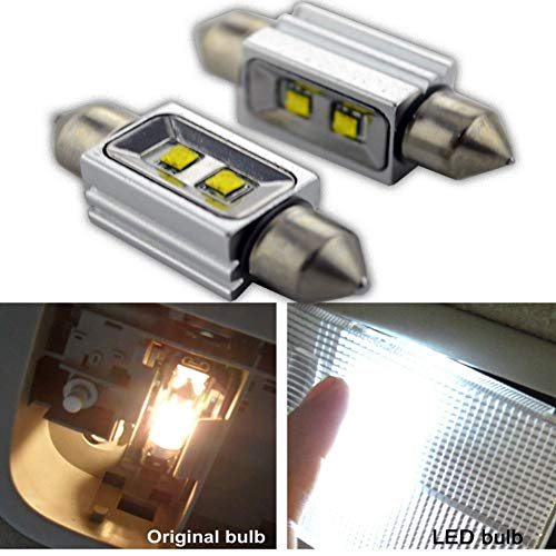Ruiandsion 2 bombillas LED Canbus Festoon 39 mm 12 V CREE 2SMD 10 W LED para interior de coche, luz de mapa, cúpula de lectura, color blanco