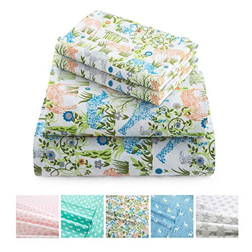 Vonty Kids Bed Sheets Twin Lovely Jungle Elephant Giraffe Sheets for Boys & Girls, Soft Microfiber Easy Wash Bedding Set (1 Fitted Sheet + 1 Flat Sheet + 1 Pillowcase)