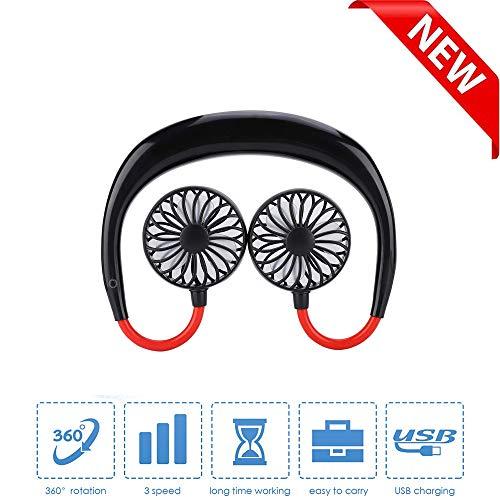 Yizhet Ventilador Cuello Ventilador USB Portátil Mini Ventilador de 3 Velocidad USB Colgante Cuello Abanico Viajes Deportivo Fan Portátil Ventilador Personal Portátil, Diseño de Auriculares