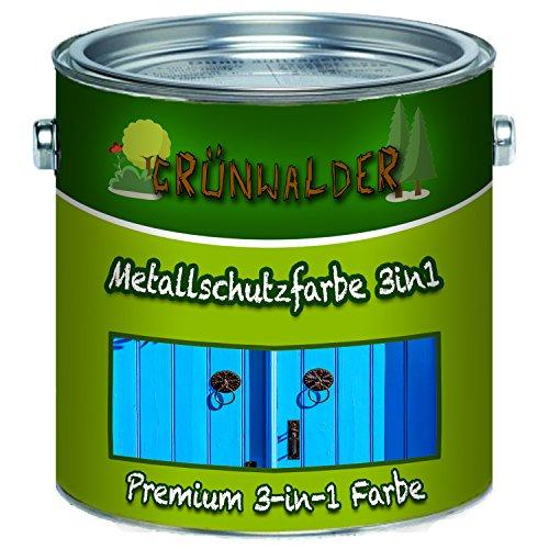 Grünwalder Metallschutzfarbe 3in1 premium Metallschutzlack 3-in-1effektiver Schutzanstrich auf metallischen Untergründen, wie Eisen, Stahl, Aluminium, Zink und Metall -UV-Beständigkeit!