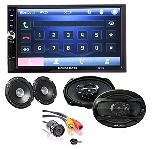 Sound Boss 2D in Bluetooth Car Video Player 7'' HD Touch Screen, Coaxial Car Speaker and Night Vision Rear View Camera (Combo)