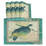 Hokdny Juego De 6 Manteles Individuales para Mesa De Comedor,Aqua Maritime Sea Turtle Viaja por Europa Manteles Individuales Lavables Resistentes Al Calor para Fiestas Navideñas