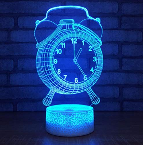 SFALHX Alarm Clock Model 3D USB LED Lamp 7 Color Change Visual Illusion 3D Night Light For Children Friend Gift Not Real Clock