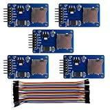 Geekstory Micro SD Card Module Mini TF Card Adapter Reader Module and Write Module with SPI Interface Driver Module + 40pcs Female to Male Dupont Cable Line for Arduino (Pack of 5pcs with Cables)